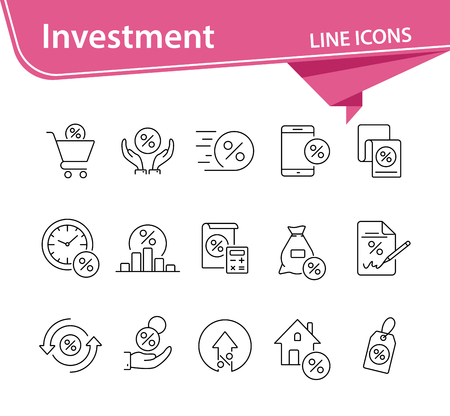 Investment icon set. Line icons collection on white background. Credit, loan, percent. Selling concept. Can be used for topics like money, finances, economy Illusztráció