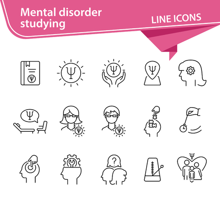 Mental disorder studying line icon set  Psychologist, hypnosis,