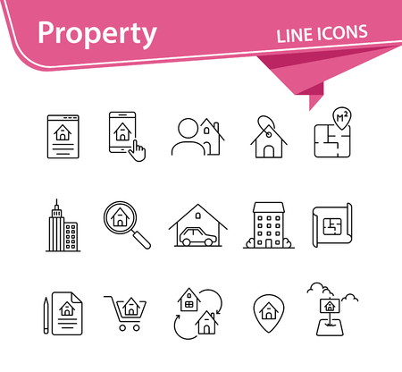 Property line icon set. House, garage, apartment, floor plan. Home concept. Can be used for topics like real estate purchase, mortgage, insurance, housing
