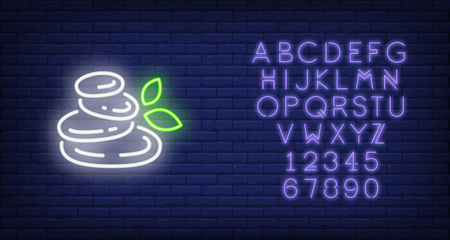 Spa stones and leaves neon sign. Harmony, health and meditation concept. Advertisement design. Night bright neon sign, colorful billboard, light banner. Vector illustration in neon style. Stock Illustratie