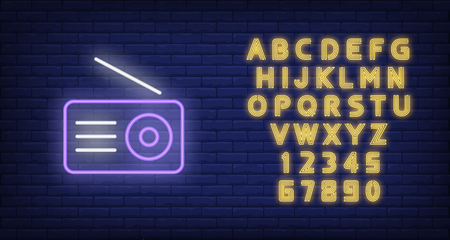 Radio set neon icon. Receiver with antenna on brick wall background. Broadcasting concept. Vector illustration can be used for neon signs, billboards, communication, media