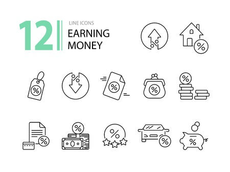Earning money icon set. Line icons collection on white background. Percent, credit, loan. Payment concept. Can be used for topics like banking, spending money, commerce