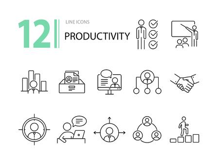 Produktivitätssymbole. Linie Ikonensammlung auf weißem Hintergrund. Tor, Sieg, Arbeitszeit. Management-Konzept. Vektorillustration kann für Themen wie Wirtschaft, Karriere, Teamwork verwendet werden