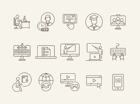 Web teacher line icon set. Student, online class, e-learning. Lesson concept. Can be used for topics like education, online lection, conference Stock Vector - 125562573