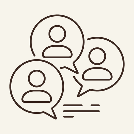 Focus group line icon. Forum, business network, comments. Business concept. Vector illustration can be used for topics like communication, social networking, internet Stock Vector - 124921143