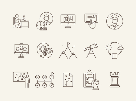 Campus line icon set. Activity, studying, gamification. College life concept. Can be used for topics like education, university, development Illustration