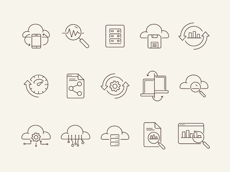 Analysis line icon set. Research, diagram, cloud. Business concept. Can be used for topics like server, process, management Ilustração