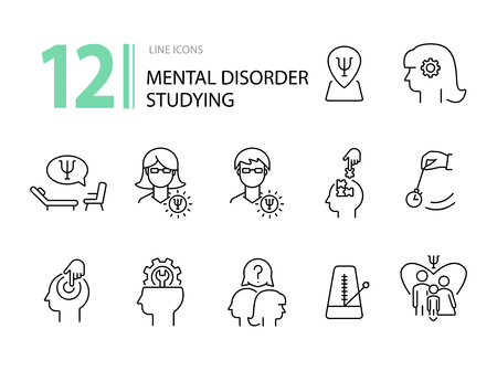 Mental disorder studying line icon set. Psychologist, hypnosis, metronome. Psychology concept. Can be used for topics like behavioral therapy, mental science, research Stock Illustratie