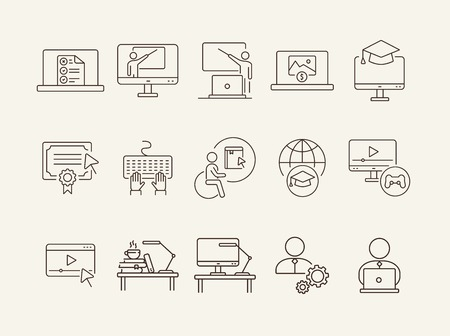 Interactive learning line icon set. Course, college, degree. Online lesson concept. Can be used for topics like e-learning, seminar, education Ilustração Vetorial