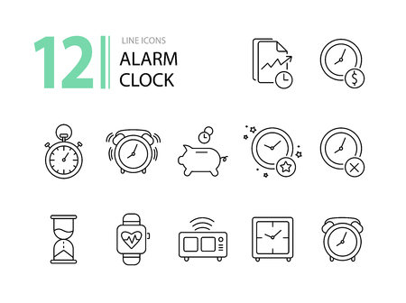 Alarm clock line icon set. Watch, timer, piggy bank. Time concept. Can be used for topics like time management, deadline, time is money Çizim