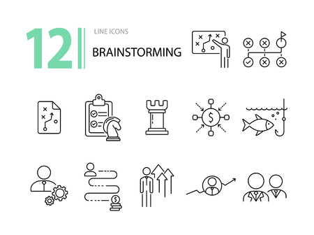 Brainstorming icon set. Line icons collection on white background. Decision, logic, strategy. Business concept. Can be used for topics like gamification, start-up, promotion Ilustração