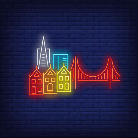 San Francisco city buildings and Golden Gate bridge neon sign. Sightseeing, tourism, travel design. Night bright neon sign, colorful billboard, light banner. Vector illustration in neon style.