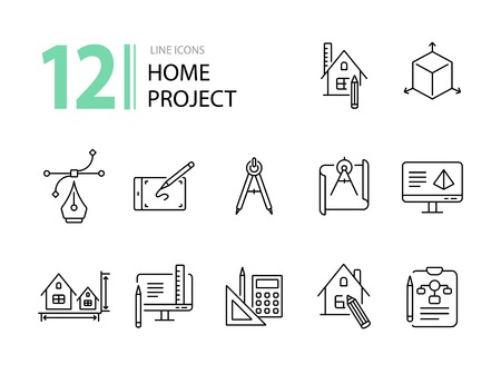 Home project line icon set. Blueprint, computer, house, ruler, pencil. Architecture concept. Can be used for topics like engineering, measurement, building design