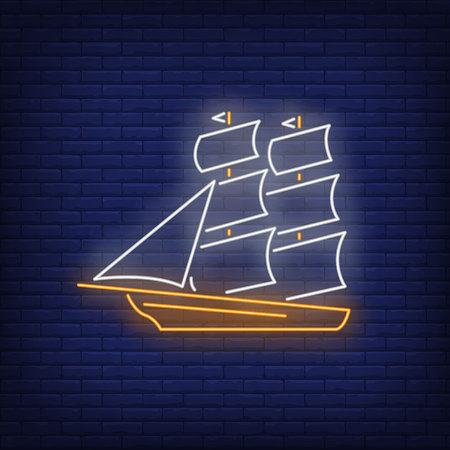 Old sailing ship neon sign. Vessel, voyage, adventure design. Night bright neon sign, colorful billboard, light banner. Vector illustration in neon style.