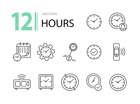 Hours line icon set. Clock, wristwatch, time zones. Time concept. Can be used for topics like deadline, morning, schedule Ilustração