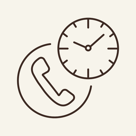 Time of call line icon. Working hours, twenty four hours call center, support service. Phone concept. Vector illustration can be used for topics like communication, connection, service