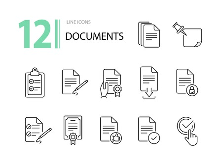 Documents line icon set. Papers, clipboard, checklist. Paperwork concept. Can be used for topics like business, agreement, deal Ilustrace