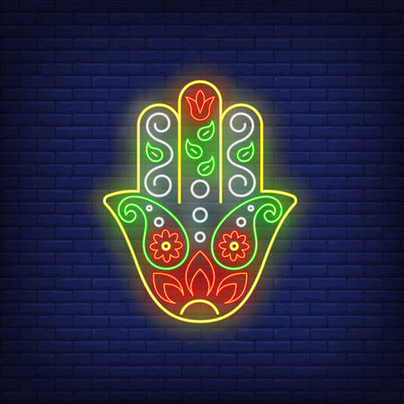 Fatima hand neon sign. Protection, spirituality, religion design. Night bright neon sign, colorful billboard, light banner. Vector illustration in neon style.