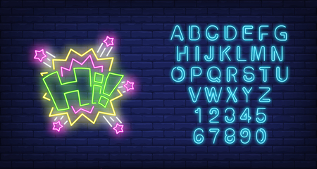 Hi lettering neon sign. Word with bang shapes and stars on brick wall background. Vector illustration in neon style for billboards, greeting banners, welcome party invitation Ilustração