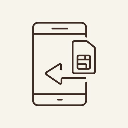 Sim card line icon. Memory card, SD card, insertion. Phone concept. Vector illustration can be used for mobile phones, interface, design