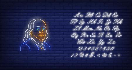 Enseigne au néon silhouette Benjamin Franklin. Président des États-Unis, billet de cent dollars, déclaration d'indépendance. Illustration vectorielle dans un style néon pour les bannières festives, les panneaux d'affichage lumineux, le 4 juillet Vecteurs