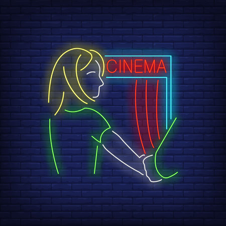 Follow me, woman at cinema neon sign. Leisure, lifestyle, entertainment design. Night bright neon sign, colorful billboard, light banner. Vector illustration in neon style. Illustration