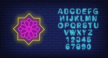 Asian ornamental pattern neon sign. Islam, Arabic culture design. Night bright neon sign, colorful billboard, light banner. Vector illustration in neon style.