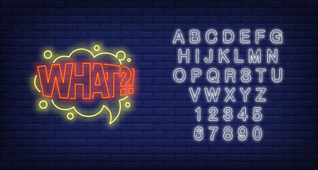 WHAT lettering neon sign. Word in speech bubble on brick wall background. Vector illustration in neon style for posters, comics, surprise