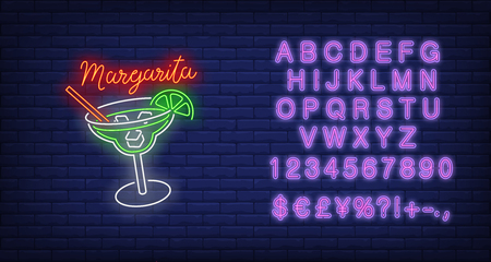 Margarita neon text, drink glass, straw, ice cubes and lime. Cocktail bar design. Night bright neon sign, colorful billboard, light banner. Vector illustration in neon style.