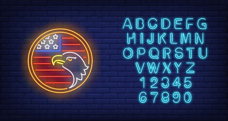 American flag and eagle in circle neon sign. USA symbol, history design. Night bright neon sign, colorful billboard, light banner. Vector illustration in neon style.