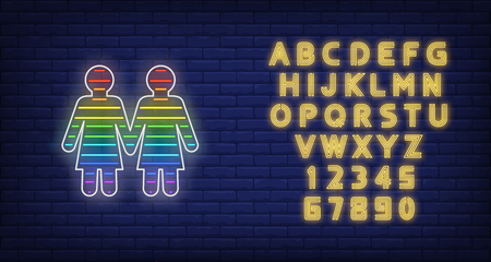 Lesbian couple neon sign. Rainbow colored girls shape, women, lgbt. Vector illustration in neon style for bright banners, light billboards, pride flyer