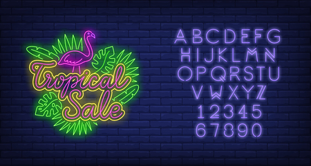 Tropical sale neon text with flamingo and leaves. Resort, tourism, shopping design. Night bright neon sign, colorful billboard, light banner. Vector illustration in neon style.