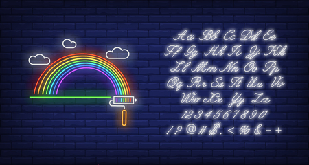Painted rainbow neon sign. LGBT symbol, roller, cloud. Vector illustration in neon style for bright banners, light billboards, pride emblem