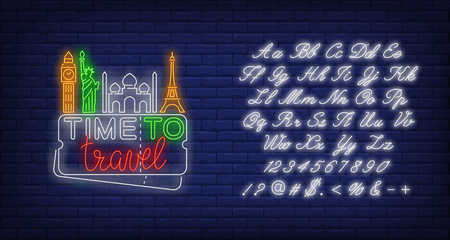 Time to Travel neon lettering with famous landmarks. Tourism, vacation and travel design. Night bright neon sign, colorful billboard, light banner. Vector illustration in neon style. 写真素材 - 125505361
