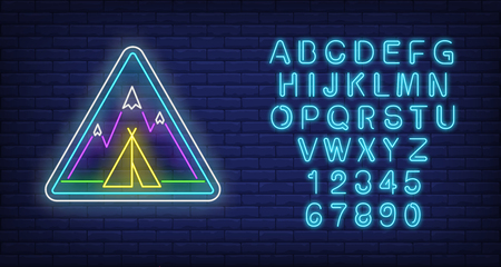 Camp in mountains neon sign. Triangle, tent, peaks, snowcap, wigwam. Vector illustration in neon style for light banners and billboards, trekking, adventure travel Illustration