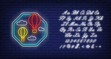 Ballooning neon sign. Hot air balloons, basket, sky, cloud. Vector illustration in neon style for light banners and billboards, adventure, travel