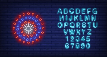 Circle of red and blue stars neon sign. American patriotic background, kaleidoscope, wheel. Vector illustration in neon style for festive independence day banners, light billboards, flyers