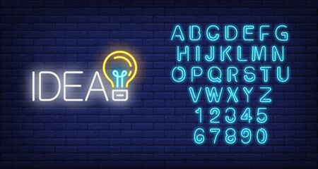 Idea neon sign. Luminous signboard with light bulb. Night bright advertisement. Vector illustration in neon style for creative work