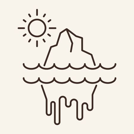 Melting of glaciers line icon. Ablation, flood, natural disaster. Climate concept. Vector illustration can be used for topics like global warming, water pollution, environment protection