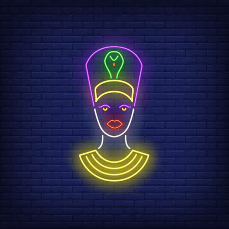 Nefertiti head neon sign. Authority, power, Egypt design. Night bright neon sign, colorful billboard, light banner. Vector illustration in neon style.