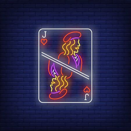 Jack of hearts playing card neon sign. Gambling, poker, casino, game design. Night bright neon sign, colorful billboard, light banner. Vector illustration in neon style. Vektorové ilustrace