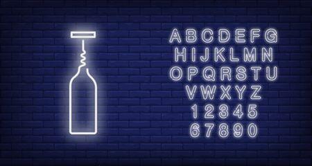 Wine bottle with corkscrew neon sign. Winery or advertisement design. Night bright neon sign, colorful billboard, light banner. Vector illustration in neon style. Ilustração Vetorial
