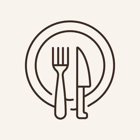 Icono de línea de vajilla de comedor. Plato, cuchillo, tenedor. Concepto de comida. La ilustración vectorial se puede utilizar para temas como restaurante, cena, comida. Ilustración de vector