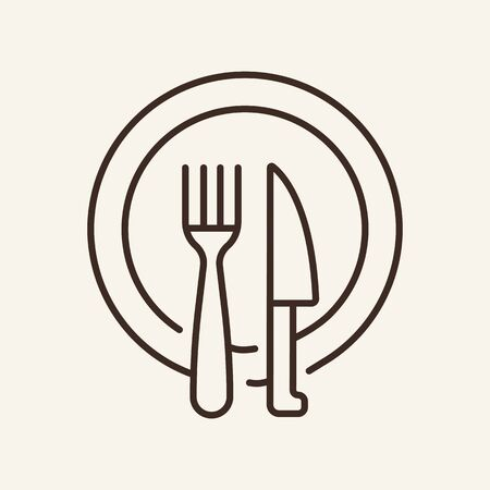 Ikona linii naczynia do jadalni. Talerz, nóż, widelec. Koncepcja żywności. Ilustracja wektorowa może być używana do tematów takich jak restauracja, kolacja, posiłek Ilustracje wektorowe