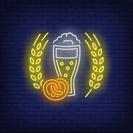 Beer glass, pretzel and barley ears neon sign. Bar, pub, party design. Night bright neon sign, colorful billboard, light banner. Vector illustration in neon style. Illusztráció