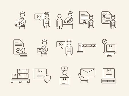 Customs icons. Set of line icons. Customs officer, passport check, custom border. Airport concept. Vector illustration can be used for topics like delivery, immigration, shipping 向量圖像