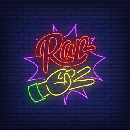 Hand and lettering neon sign. Rap, gesture, yo, rap battle. Vector illustration in neon style for night club, party and concert