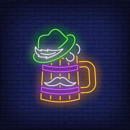 Beer mug with hat and moustache neon sign. Brasserie, sport bar Oktoberfest, St. Patricks Day. Night bright advertisement. Vector illustration in neon style for pub banners and advertising
