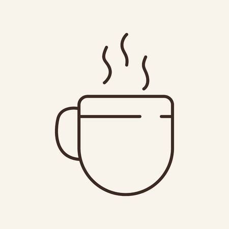 Hot drink cup line icon. Mug with steaming tea or coffee. Drink concept. Vector illustration can be used for topics like tea break, coffee shop, beverage