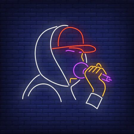 Rapper with microphone neon sign. Singer, concert, celebrity. Night bright advertisement. Vector illustration in neon style for night club, party and concert